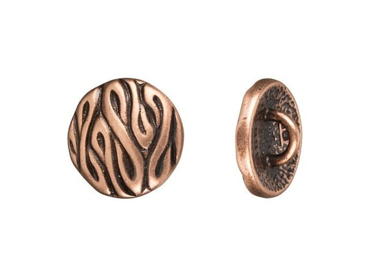 JBB 12.3mm Antique Copper-Plated Pewter Round Swirled Design Button