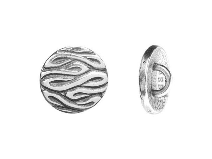 JBB 12.3mm Antique Silver-Plated Pewter Round Swirled Design Button