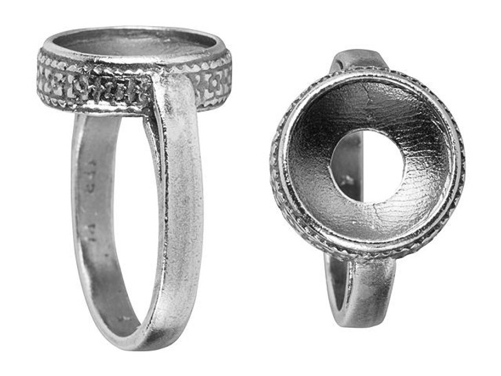 JBB 12mm Antique Silver-Plated Pewter Bezel Ring - Size 7