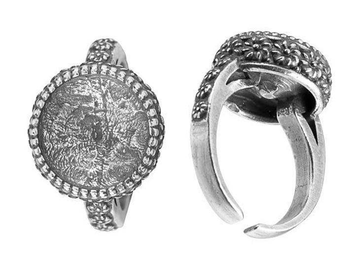 JBB 12mm Antique Silver-Plated Pewter Flower Bezel Adjustable Ring