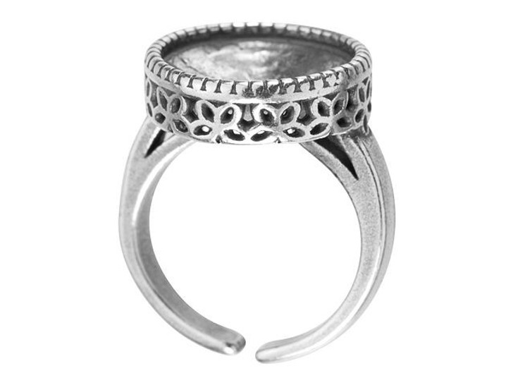 JBB 14mm Antique Silver-Plated Pewter Flower Bezel Adjustable Ring