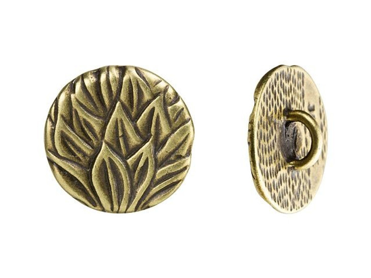 JBB 15.3mm Antique Brass-Plated Pewter Round Leaves Button