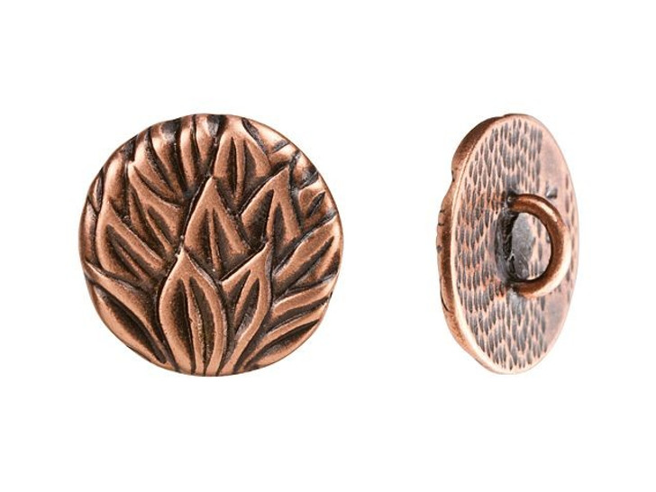 JBB 15.3mm Antique Copper-Plated Pewter Round Leaves Button
