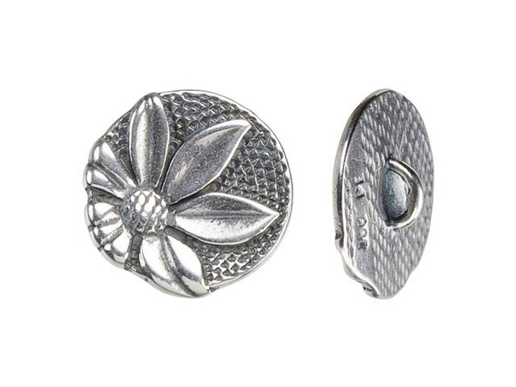 JBB 17.4mm Antique Silver-Plated Pewter Round Floral Button
