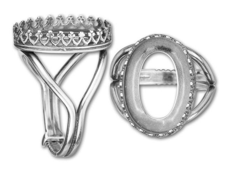 JBB 18x13mm Antique Silver-Plated Brass Oval Crown Bezel Locking Ring