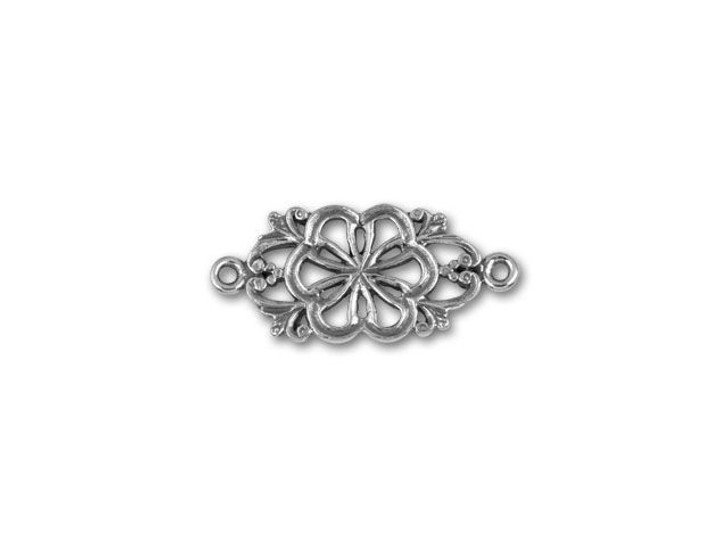JBB 24mm Antique Sterling Silver Decorative Flower Link