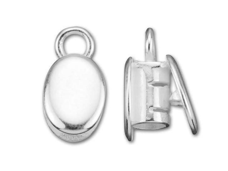 JBB 3mm Silver-Plated Brass Oval Fancy Crimp End Cap