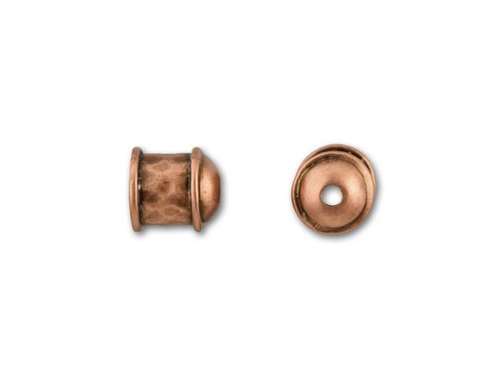 JBB 6mm Antique Copper-Plated Brass Hammered End Cap
