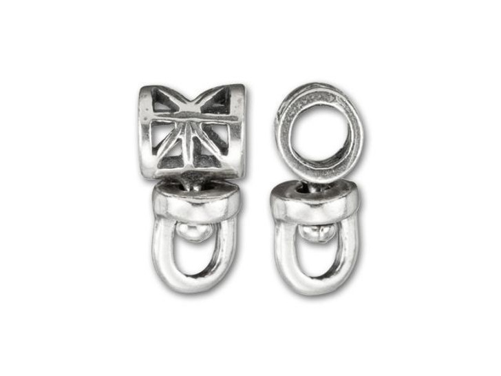 JBB 6mm Antique Silver-Plated Pewter Cut-Out Swivel Tube Bail