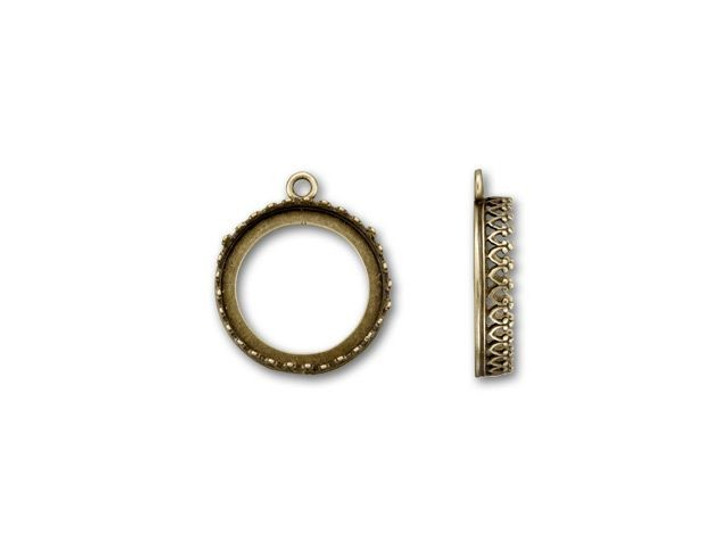 JBB Antique Brass 18mm Round Crown Bezel Charm