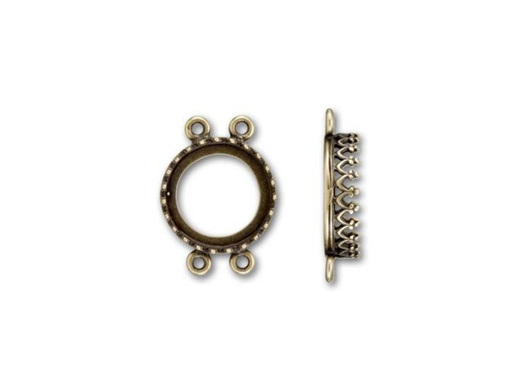 JBB Antique Brass 2-Strand Round Crown Bezel Link