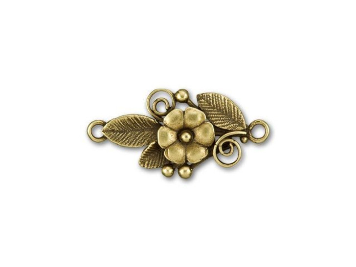 JBB Antique Brass-Plated Brass Center Flower with Leaves Link