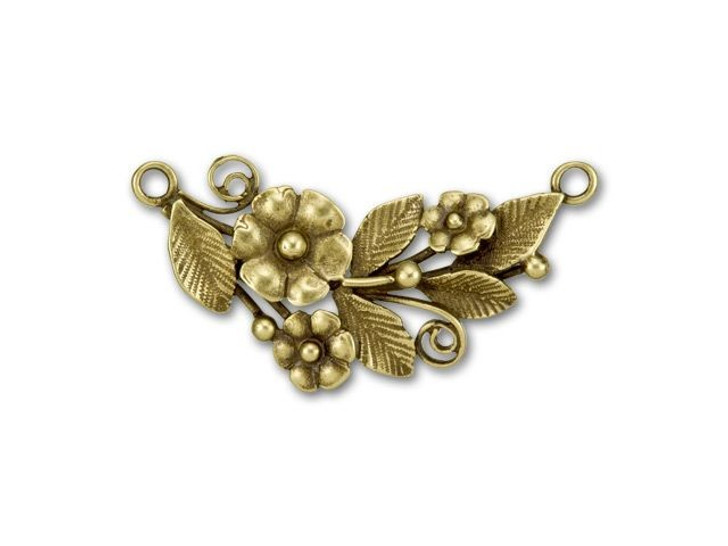 JBB Antique Brass-Plated Brass Flowers with Leaves Curved Link
