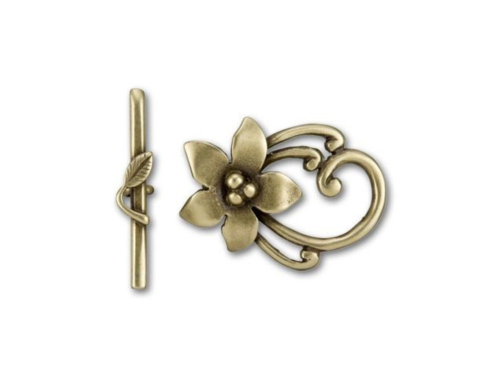 JBB Antique Brass-Plated Brass Oval Flower Mini Toggle Clasp