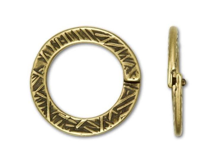 JBB Antique Brass-Plated Pewter Textured Round Locking Jump Ring