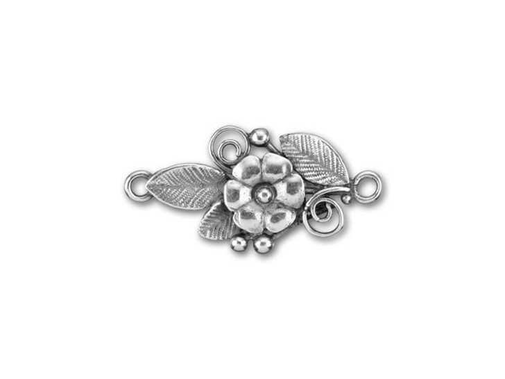JBB Antique Silver-Plated Brass Center Flower with Leaves Link