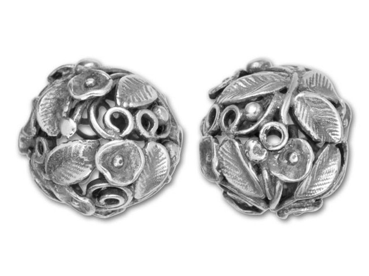 JBB Antique Silver-Plated Brass Flower Bush Hollow Round Bead