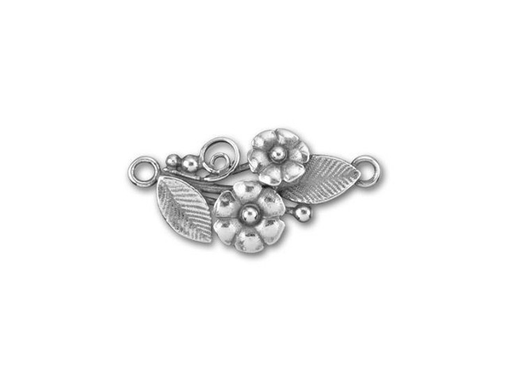 JBB Antique Silver-Plated Brass Flowers and Leaves Curved Left Link