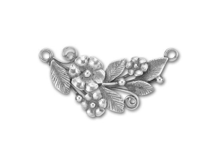 JBB Antique Silver-Plated Brass Flowers with Leaves Curved Link