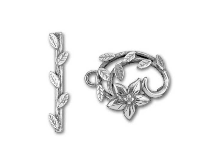 JBB Antique Silver-Plated Brass Oval Flower with Leaves Mini Toggle Clasp