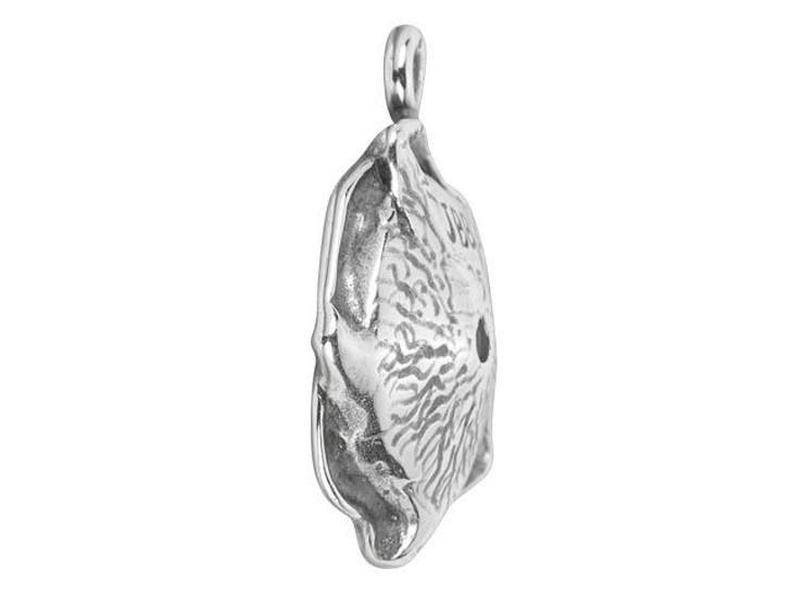 JBB Antique Silver-Plated Brass Petal Bezel Charm