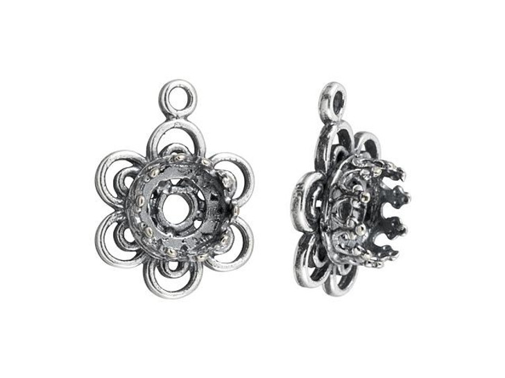 JBB Antique Silver-Plated Brass Round Bezel Flower Charm