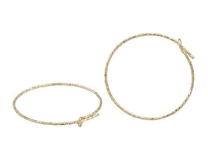 Gold-Filled 14K/20 25mm Sparkle Wire Beading Hoop (Pair)