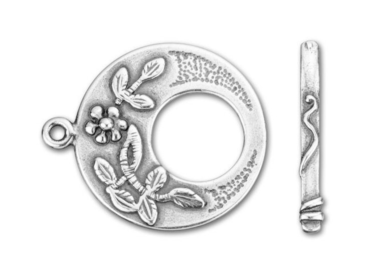JBB Antique Silver-Plated Pewter Flowers Round Toggle Clasp Set