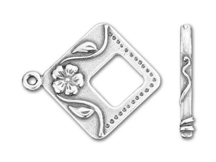 JBB Antique Silver-Plated Pewter Flowers Square Toggle Clasp Set