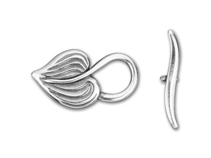 JBB Antique Silver-Plated Pewter Heart Shaped Leaf Toggle Clasp Set