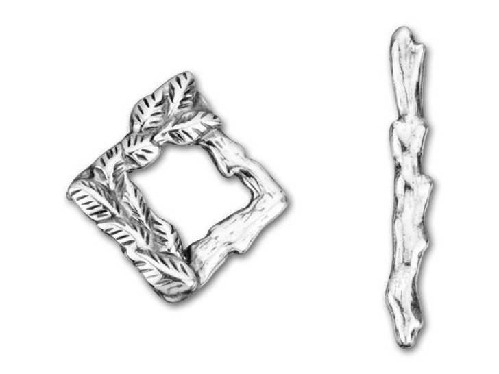 JBB Antique Silver-Plated Pewter Leaves Square Toggle Clasp Set