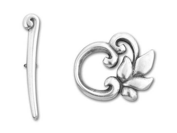 JBB Antique Silver-Plated Pewter Leaves Toggle Clasp