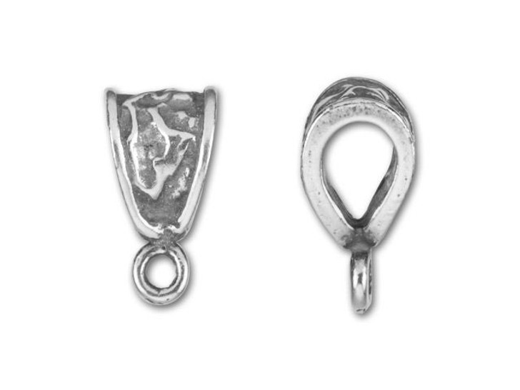 JBB Antique Silver-Plated Pewter Textured Closed Loop Bail