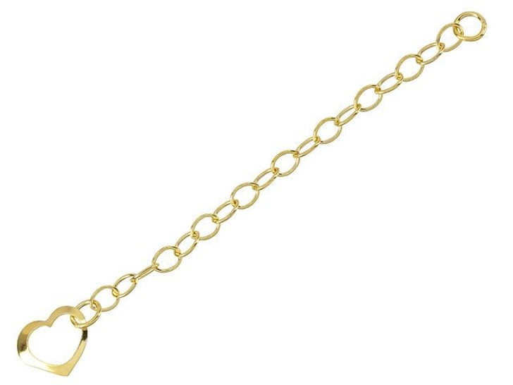 14K/20 Gold-Filled 2-Inch Cable Chain Extender with Floating Heart Drop