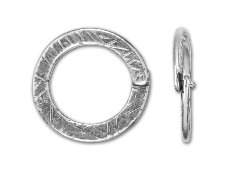JBB Antique Silver-Plated Pewter Textured Round Locking Jump Ring