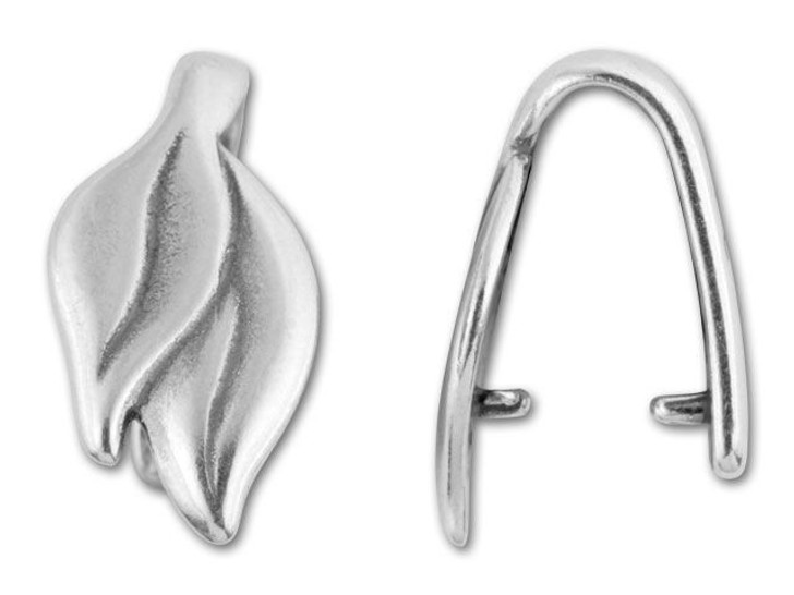JBB Antique Silver-Plated Pewter Two Leaf Pinch Bail