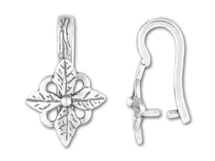 JBB Antique Sterling Silver Four Petal Flower Pinch Bail