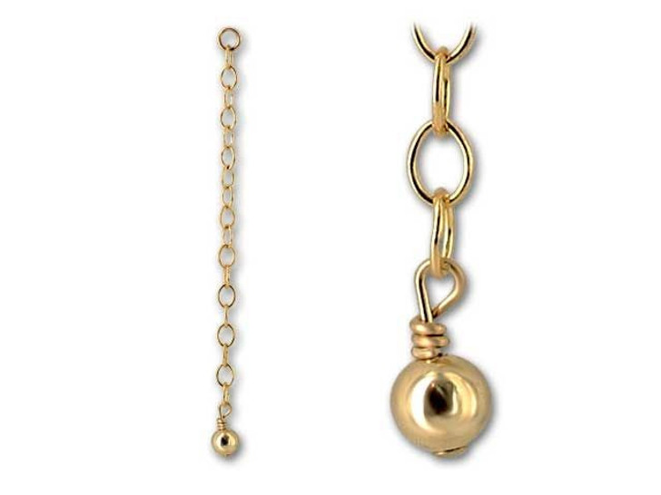 Gold-Filled 14K/20 2-Inch Extender with 4mm Shiny Bead