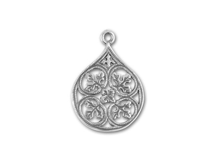 JBB Antique Sterling Silver Leaves Teardrop Pendant