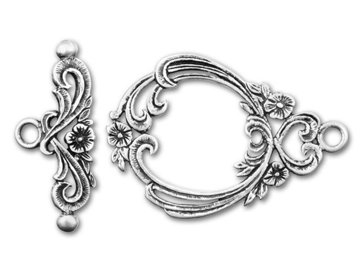 JBB Antique Sterling Silver with Small Flowers and Curls Toggle Clasp