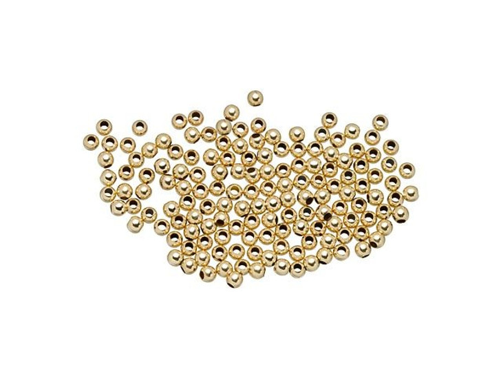 Gold-Filled 14K/20 2mm Round Seamless Bead with 1mm Hole Bulk Pack (150 Pcs)