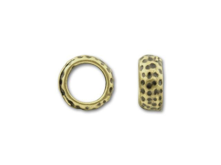 JBB Antique Vintage Brass-Plated Pewter Small Round Dotted Spacer Bead