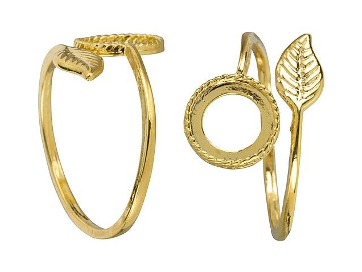 JBB Gold-Plated Brass Stone Setting with Leaf Adjustable Ring