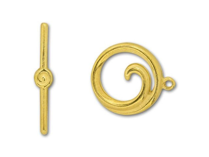 JBB Gold-Plated Pewter Spiral Toggle Clasp