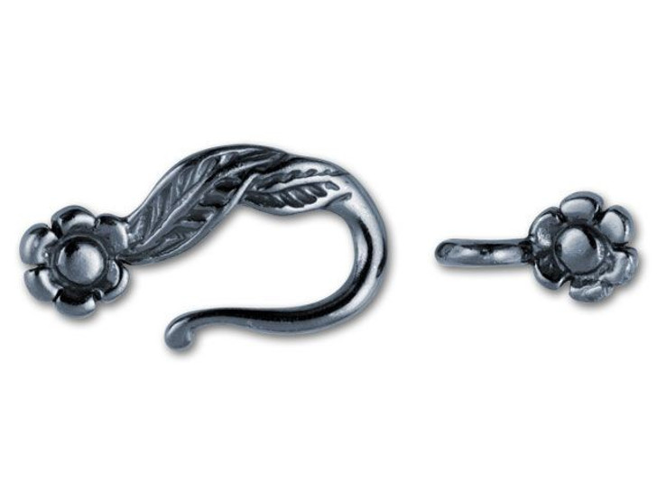 JBB Gunmetal-Plated Pewter Leaf and Flower Hook and Eye Clasp