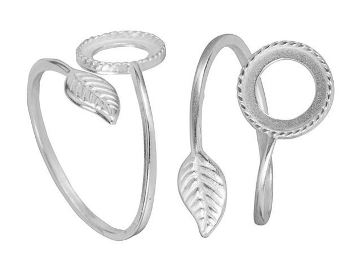JBB Silver-Plated Brass Stone Setting with Leaf Adjustable Ring