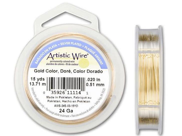 24-Gauge Gold Tarnish-Resistant Artistic Wire, 15-Yard Spool