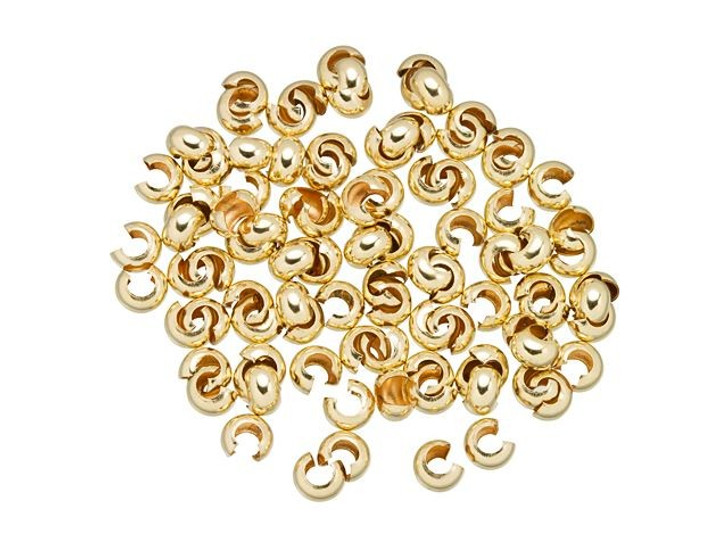 Gold-Filled 14K/20 3mm Crimp Cover Bulk Pack (100 Pcs)