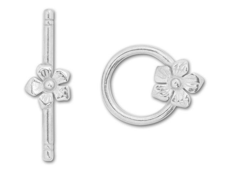 JBB Silver-Plated Pewter Flower Toggle Clasp