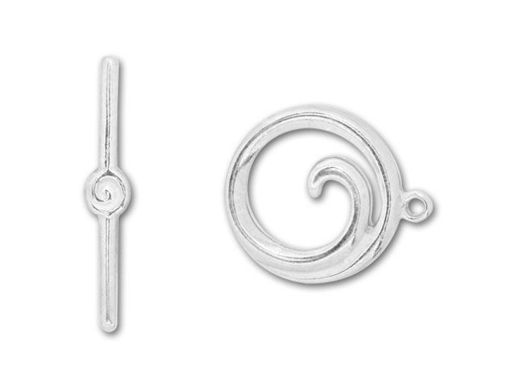 JBB Silver-Plated Pewter Spiral Toggle Clasp